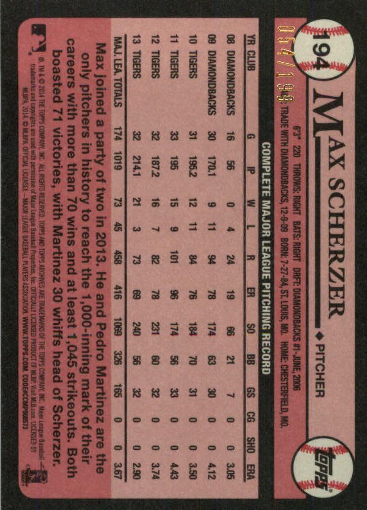 2014 Topps Archives Gold #194 Max Scherzer back image