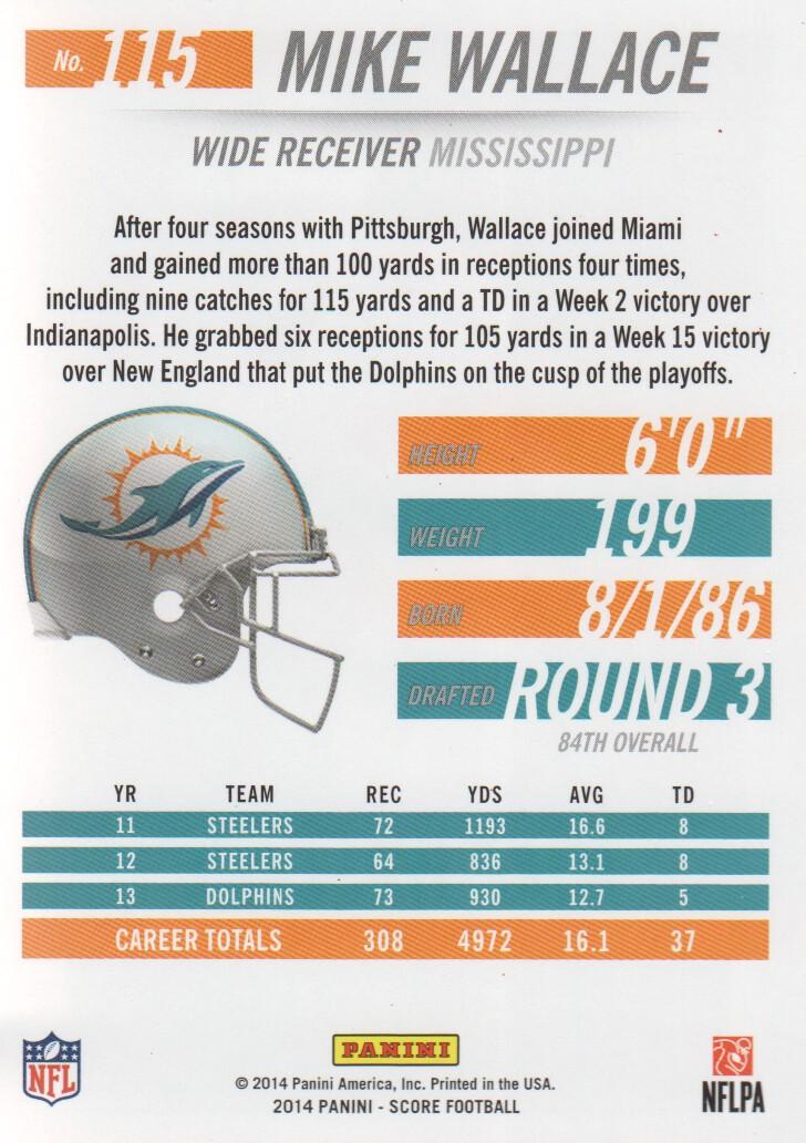 2014 Score #115 Mike Wallace back image