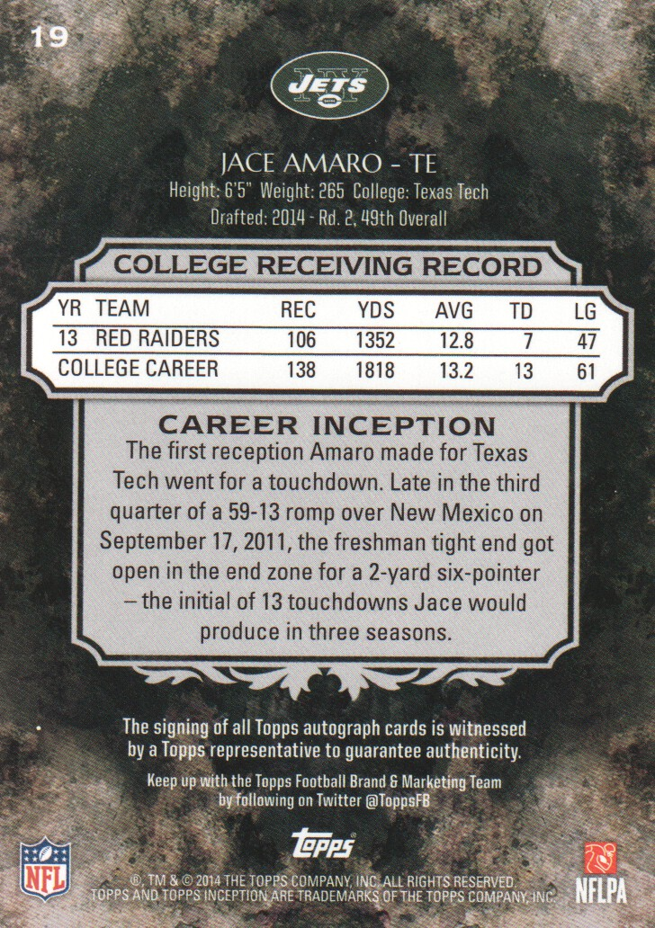 2014 Topps Inception Green #19R Jace Amaro AU back image