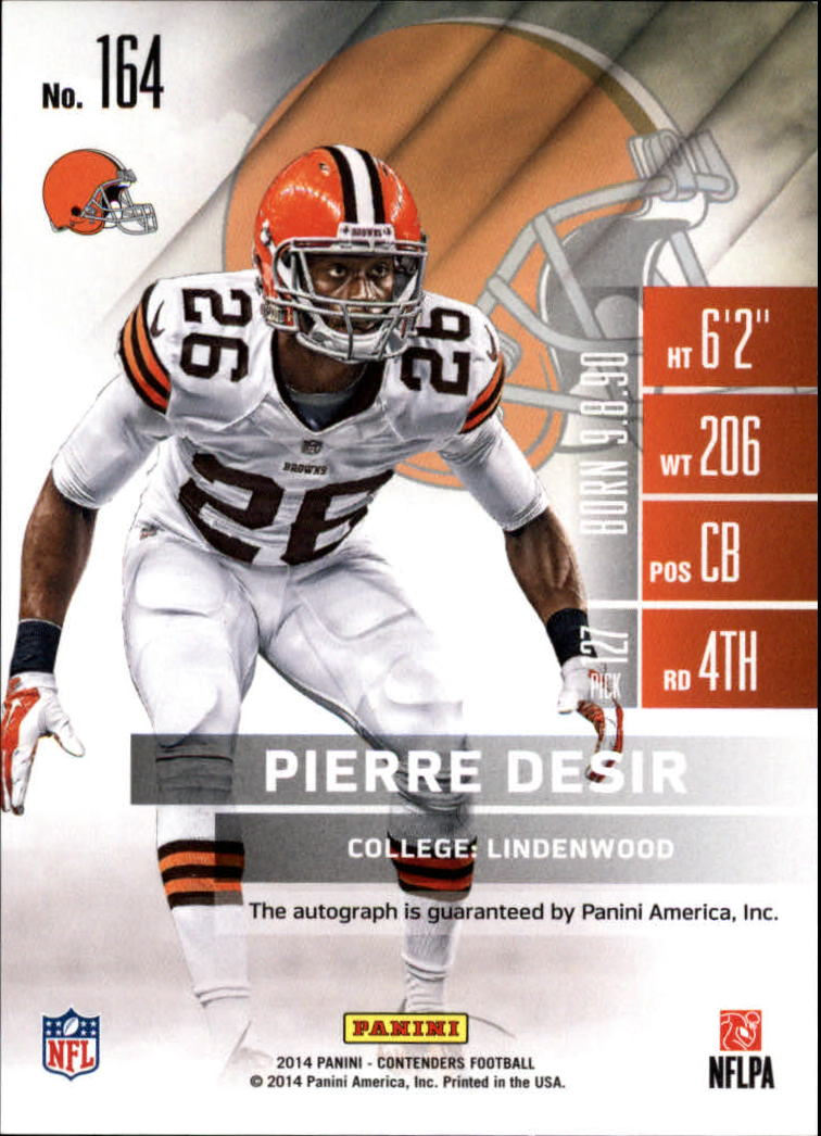 2014 Panini Contenders #164A Pierre Desir AU* RC back image