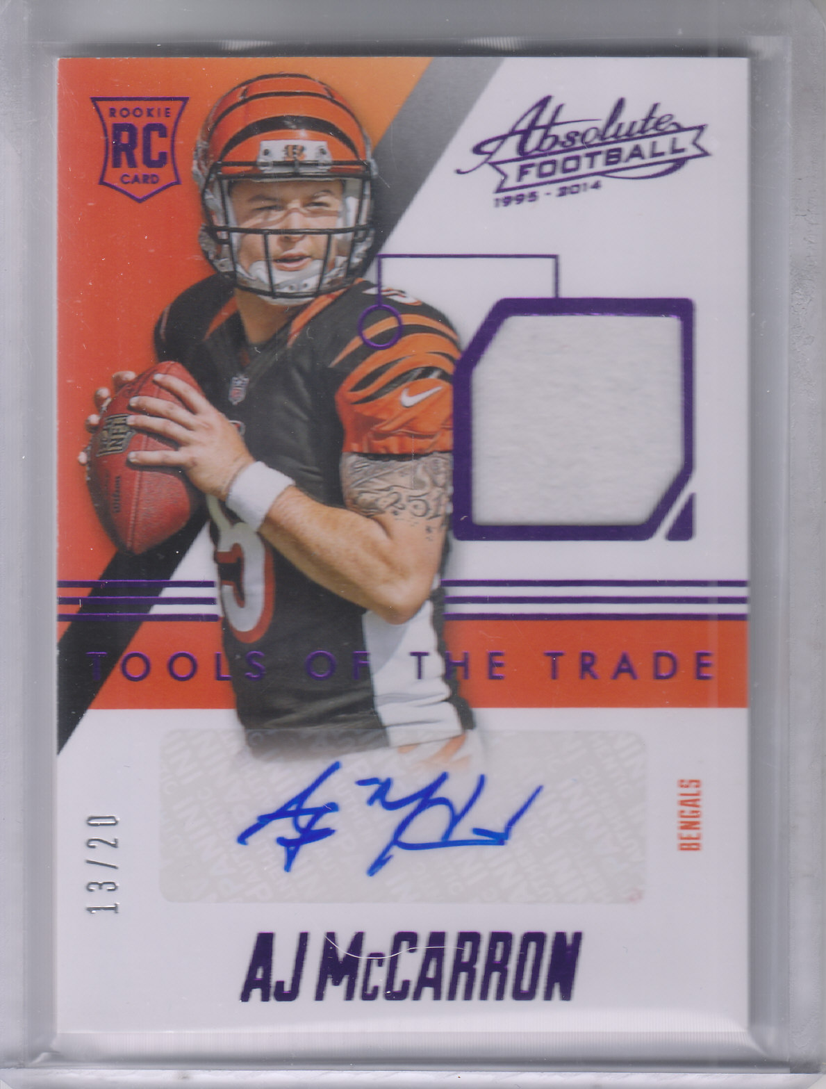 2014 Absolute Tools of the Trade Rookie Signatures Purple #TTRSAM A.J. McCarron