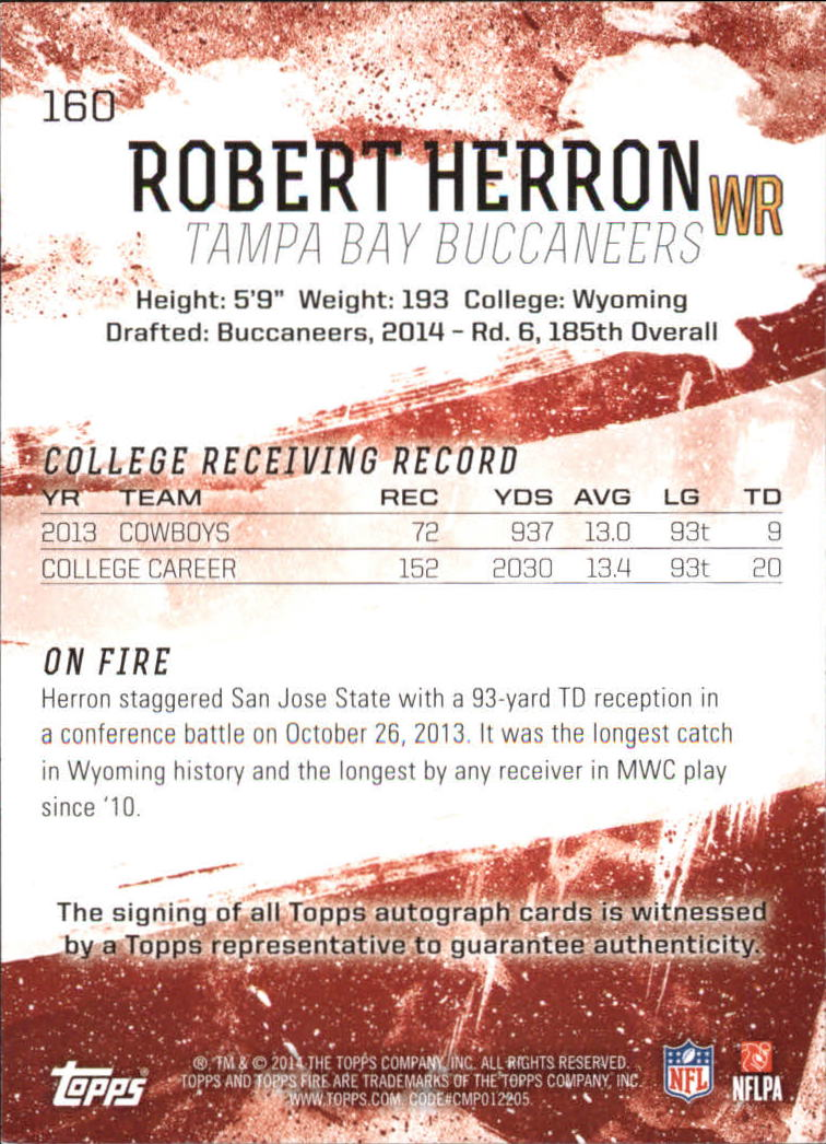 2014 Topps Fire Rookie Autographs Gold #160 Robert Herron back image