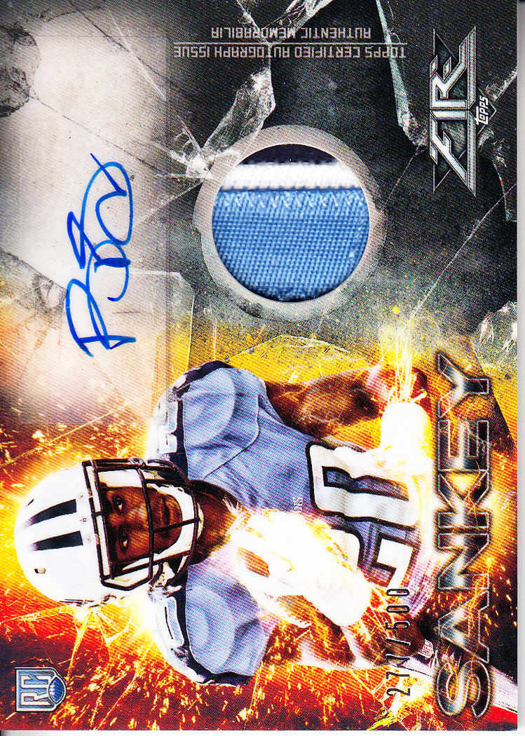 2014 Topps Fire Rookie Autograph Patches #FRAPBS Bishop Sankey/500