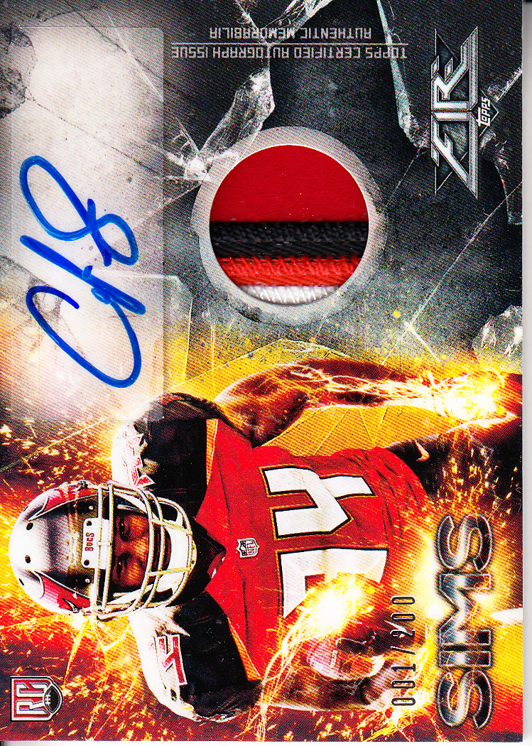 2014 Topps Fire Rookie Autograph Patches #FRAPCS Charles Sims/200