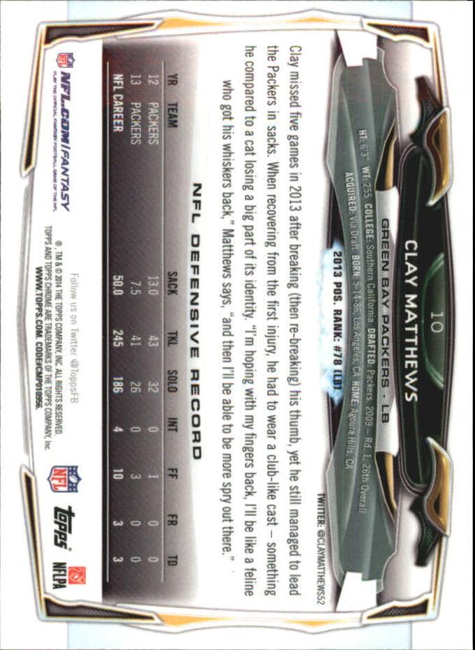 2014 Topps Chrome Mini #10 Clay Matthews back image