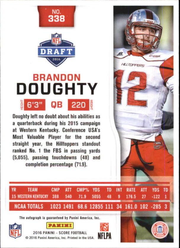 2016 Score Rookie Autographs Artist's Proof #338 Brandon Doughty/35 back image