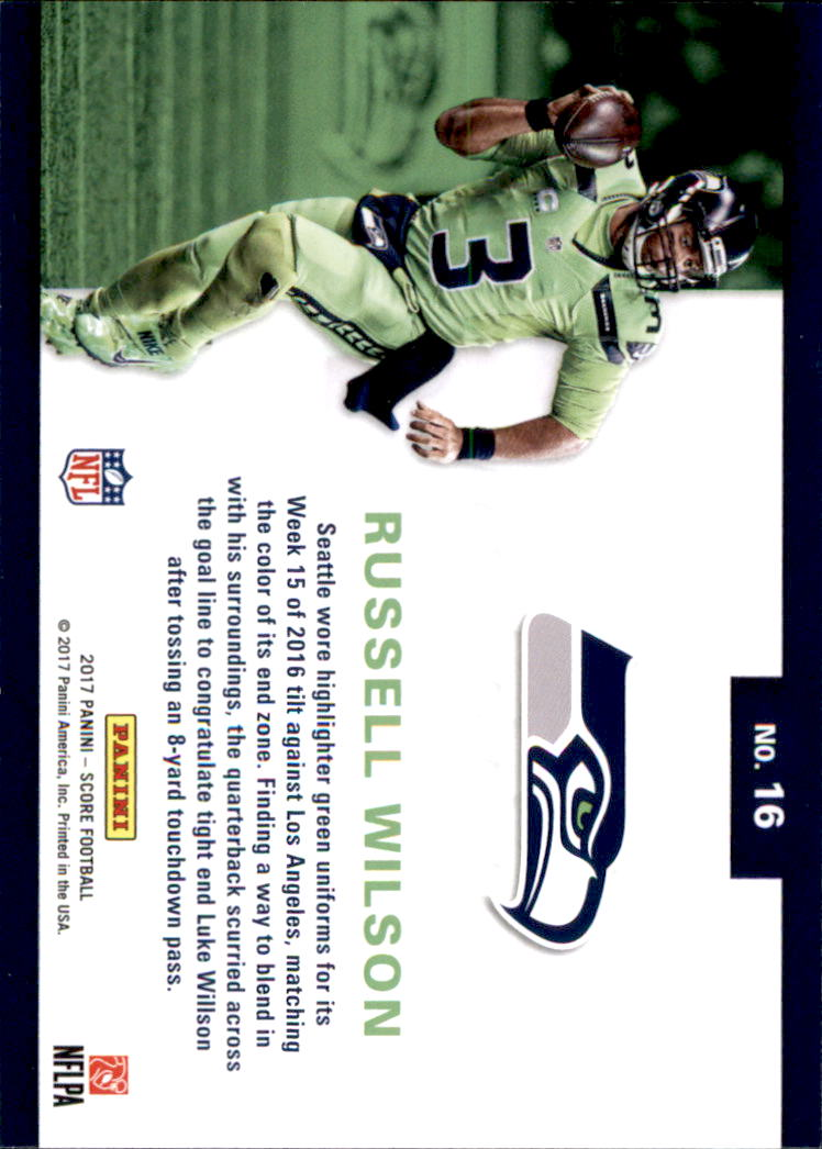 2017 Score Color Rush Seattle Seahawks Football Card  16 Russell Wilson.  Front. Back d43f1c097