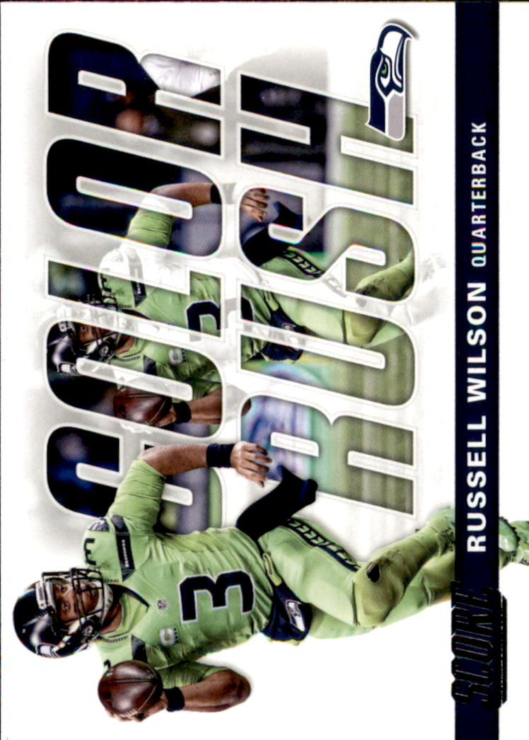 2017 Score Color Rush Seattle Seahawks Football Card  16 Russell Wilson f3c30ad03