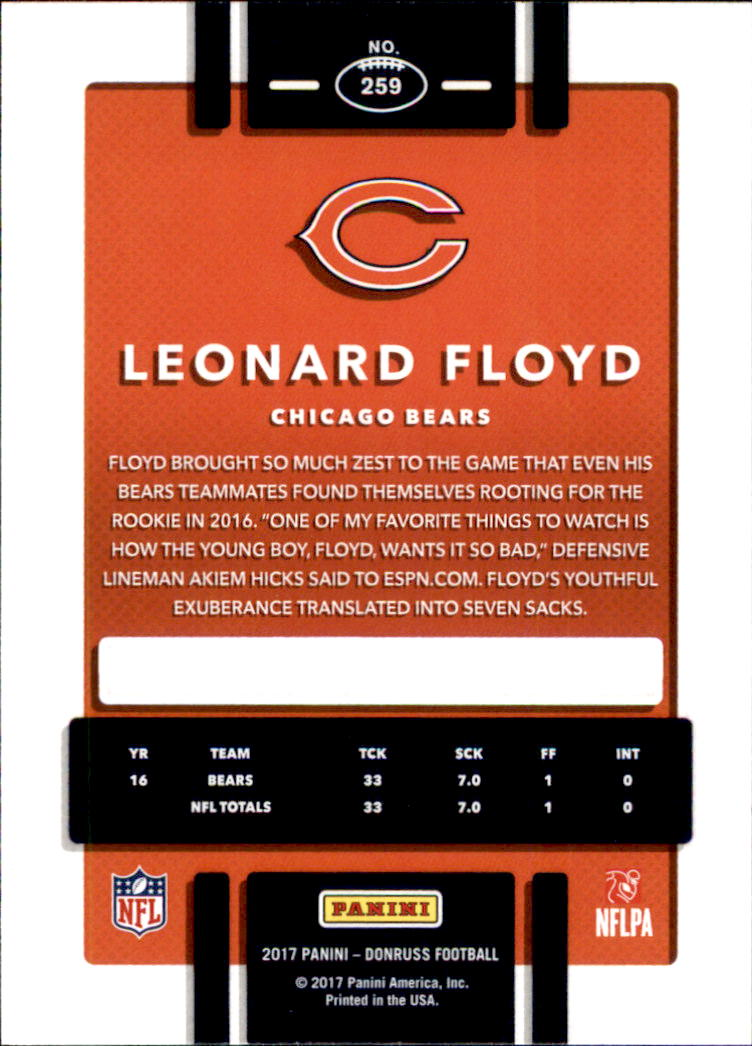 2017 Donruss #259 Leonard Floyd back image