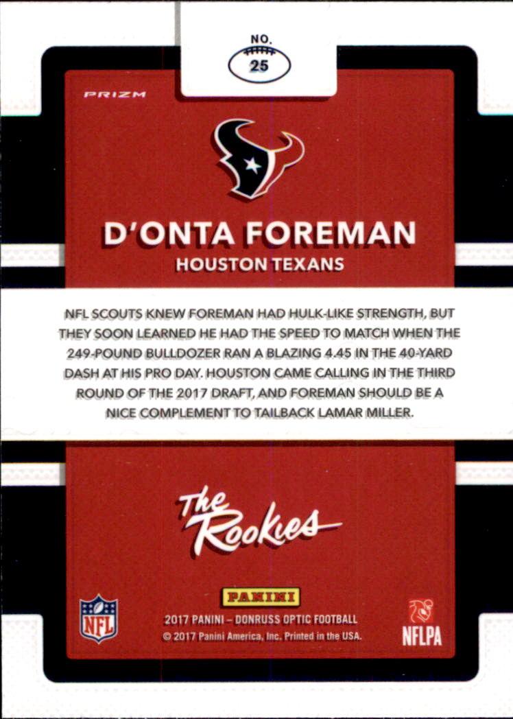 2017 Donruss Optic The Rookies #25 D'Onta Foreman back image