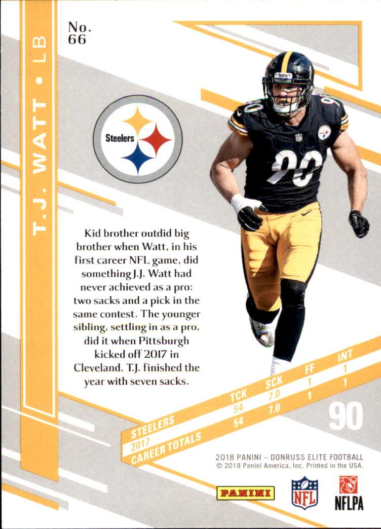 2018 Elite Football  66 T.J. Watt Pittsburgh Steelers. Front. Back da143dd16