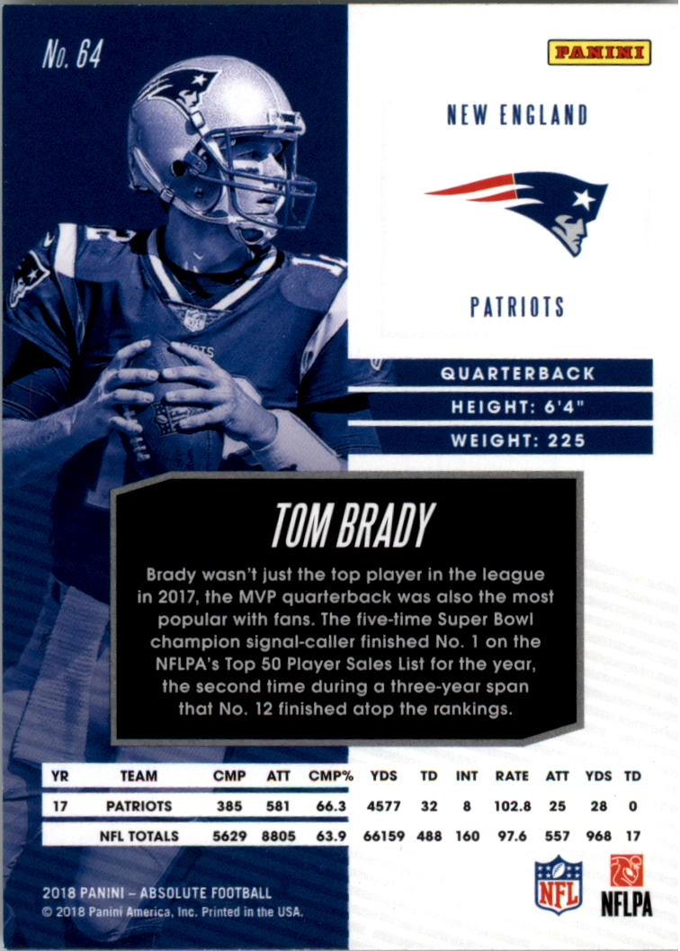 2018 Absolute #64 Tom Brady back image