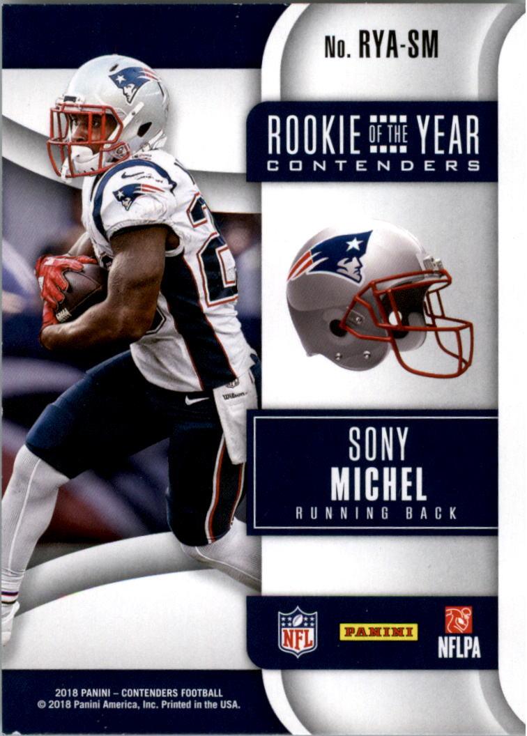 2018 Panini Contenders Rookie of the Year Contenders #10 Sony Michel back image