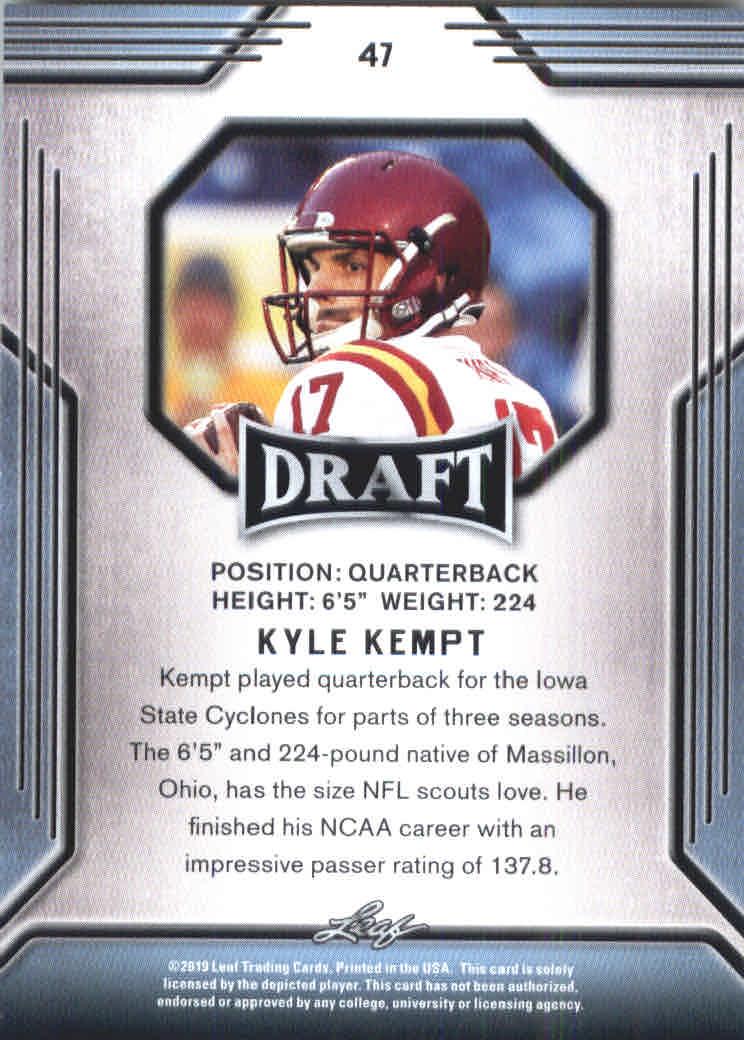 CYCLONES! KYLE KEMPT 2019 LEAF DRAFT 1ST EVER PRINTED ROOKIE CARD IOWA ST
