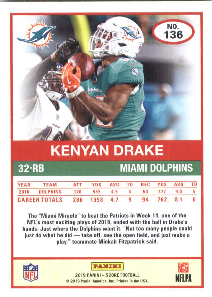 2019 Score #136 Kenyan Drake back image
