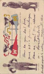 1904 College Captains and Teams Postcards #1 Wisconsin vs. Michigan/(October 29, 1904)/Bush (Wisconsin)/(Willie Heston (Michigan)