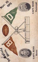 1905 College Captains and Teams Postcards #1 Brown vs. Dartmouth/(November 25, 1905)/G.A. Russ (Brown)/(D.J. Main (Dartmouth)