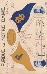1907 College Captains and Teams Postcards #2 Purdue vs. Notre Dame/(Nov. 23, 1907)/Berkheiser (Purdue)/Dom Callicrate Notre Dame)
