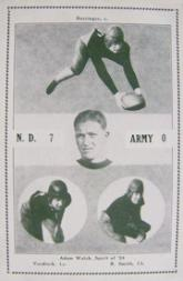 1926 Notre Dame Postcards #2 Bud Boeringer/Red Smith/John Voedisch/Adam Walsh/(Spirit of '24))/7-0 vs. Army; no date listed