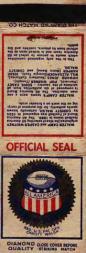1933 Diamond Matchbooks Silver #1 All-American Board Seal