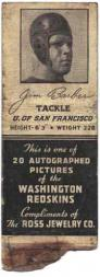 1939 Redskins Matchbooks #1 Jim Barber SP