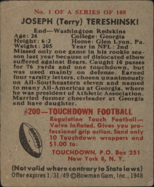 1948 Bowman #1 Joe Tereshinski RC back image