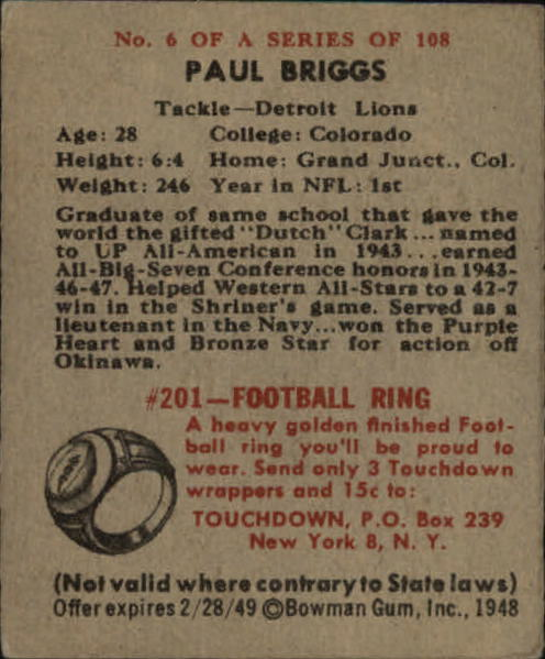 1948 Bowman #6 Paul Briggs SP RC back image