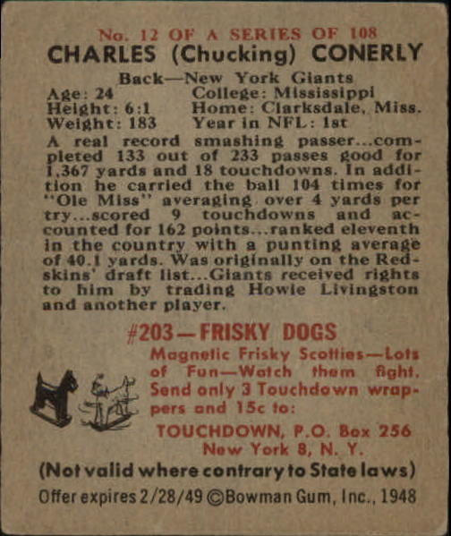 1948 Bowman #12 Charley Conerly SP RC back image