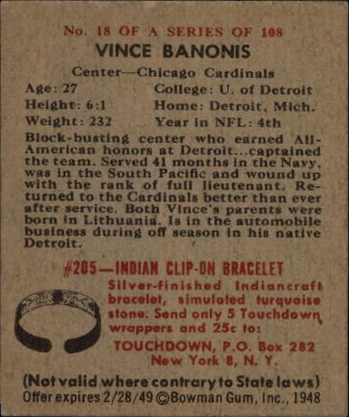 1948 Bowman #18 Vince Banonis SP RC back image
