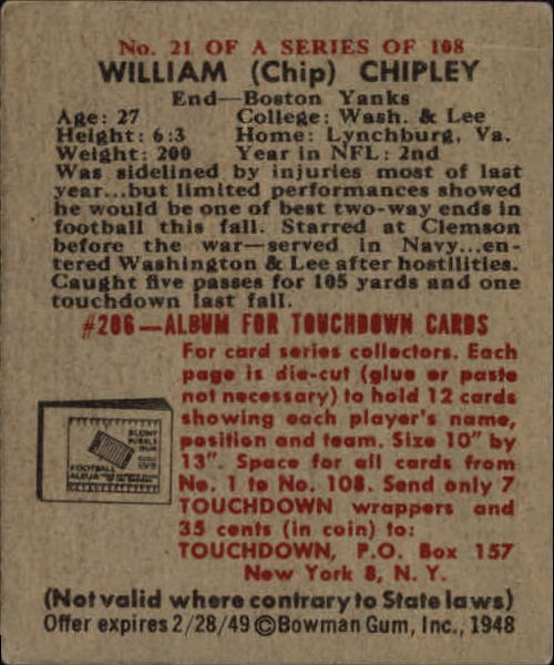 1948 Bowman #21 Bill Chipley SP RC back image