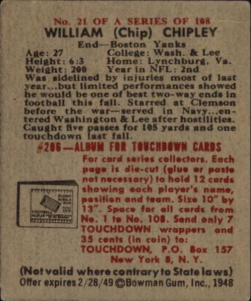 1948 Bowman #21 Bill Chipley SP RC back image