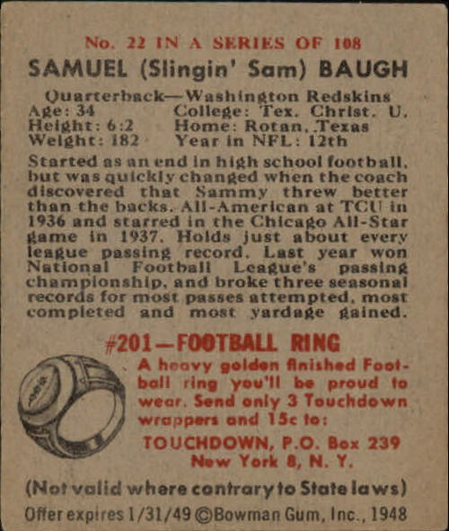 1948 Bowman #22 Sammy Baugh RC back image