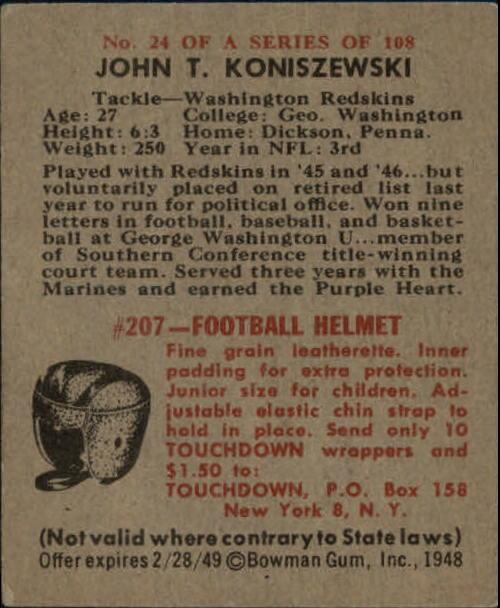 1948 Bowman #24 John Koniszewski SP RC back image