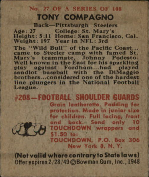 1948 Bowman #27 Tony Compagno SP RC back image