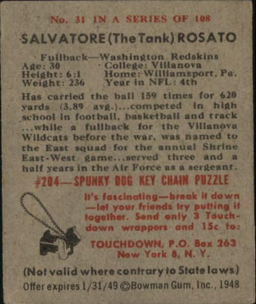 1948 Bowman #31 Salvatore Rosato RC back image