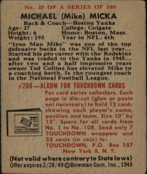 1948 Bowman #35 Mike Micka RC back image