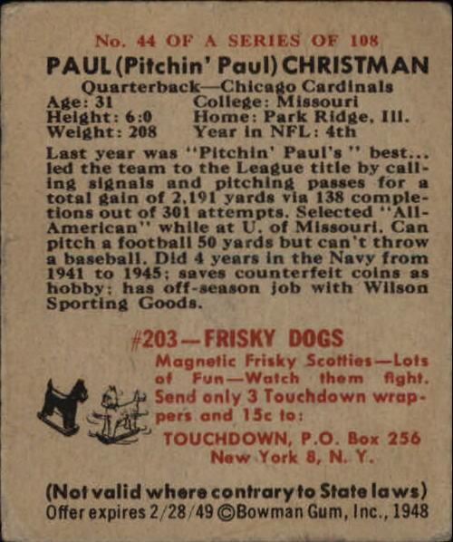 1948 Bowman #44 Paul Christman RC back image