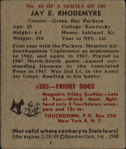 1948 Bowman #45 Jay Rhodemyre SP RC back image