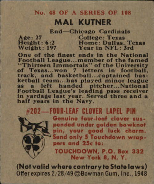 1948 Bowman #48 Mal Kutner SP RC back image