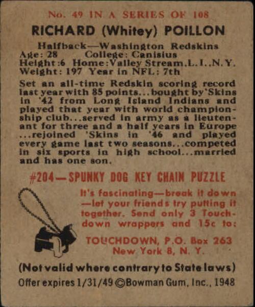 1948 Bowman #49 Dick Poillon RC back image