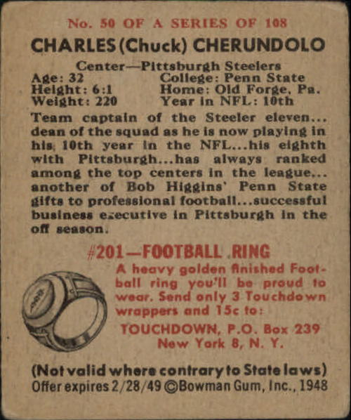 1948 Bowman #50 Charles Cherundolo RC back image
