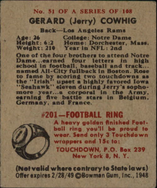1948 Bowman #51 Gerald Cowhig SP RC back image