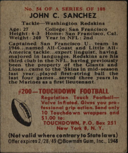 1948 Bowman #54 John Sanchez SP RC back image