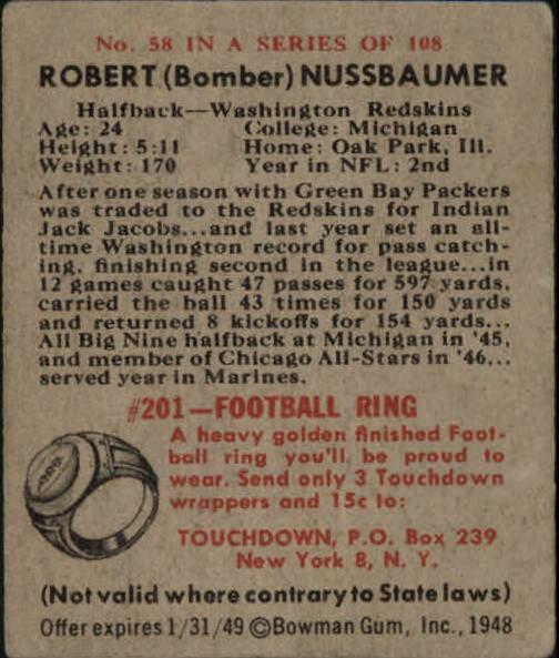1948 Bowman #58 Robert Nussbaumer RC back image