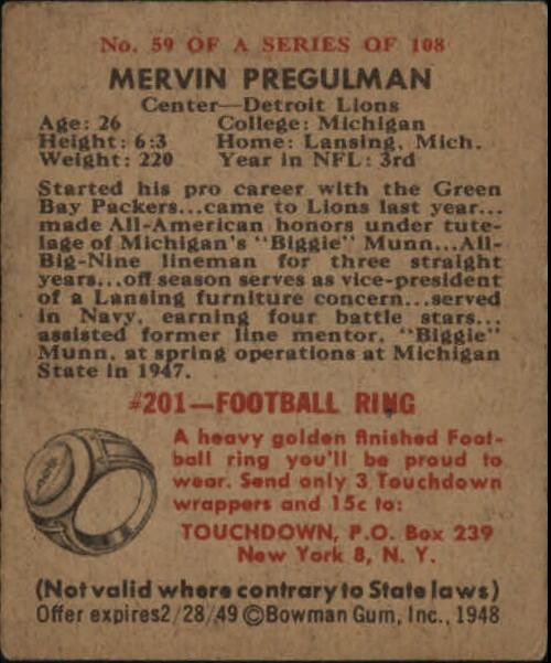 1948 Bowman #59 Mervin Pregulman RC back image