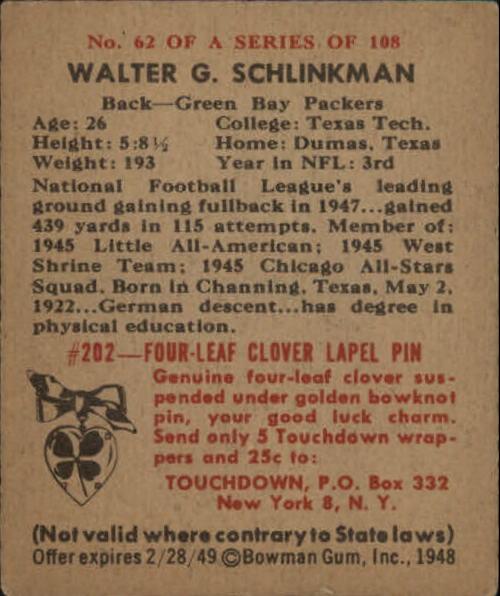 1948 Bowman #62 Walt Schlinkman RC back image