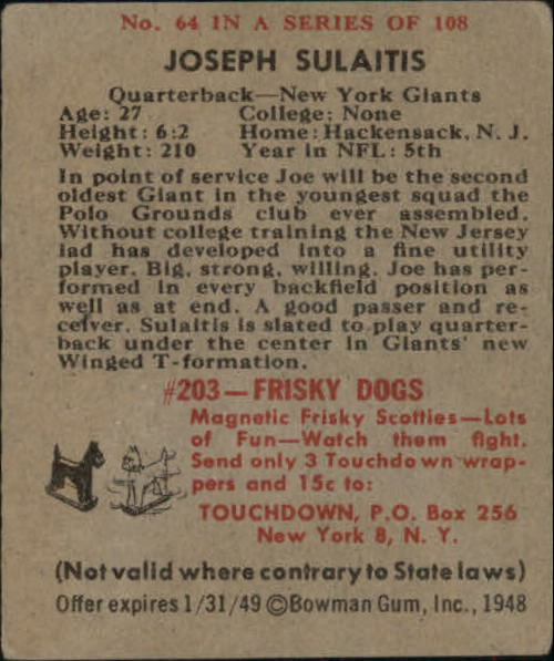 1948 Bowman #64 Joseph Sulaitis RC back image