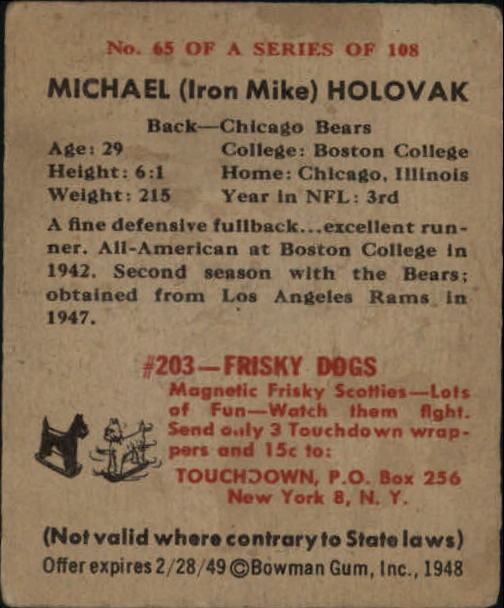 1948 Bowman #65 Mike Holovak RC back image