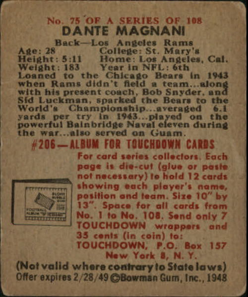 1948 Bowman #75 Dante Mangani SP RC back image