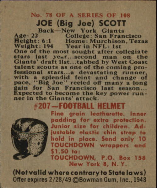 1948 Bowman #78 Joe Scott SP RC back image